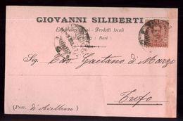 CISTERNINO - BRINDISI - 1923 - CARTOLINA COMMERCIALE - SILIBERTI -  ESPORTAZIONE VINI - Negozi