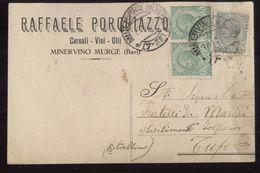 MINERVINO MURGE - BARI - 1921 - CARTOLINA COMMERCIALE - PORCHIAZZO -   VINI OLII - Negozi
