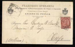 ARIANO IRPINO - AVELLINO -  1895 - CARTOLINA COMMERCIALE - FRANCESCO SPERANZA -  FABBRICANTE VINI E LIQUORI - Negozi