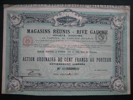 Action PARIS 1926 - MAGASINS REUNIS - RIVE GAUCHE - Beau Graphisme - Actions & Titres