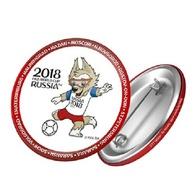 Russia 2018 World Cup 2018 Zabivaka Kicking, 44mm, White-red Patch, Badge - Fussball