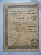 Ste Nv FRANCE BELGIQUE Du MONOFIL à SCIER SANS FIN Pour Pierre Et Minerais 1907 - Shareholdings