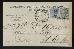 SQUINZANO - LECCE  -  1923 - CARTOLINA COMMERCIALE -  DE FILIPPIS  -   VINI - FARINE - Negozi