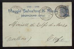 SQUINZANO - LECCE  -  1921 - CARTOLINA COMMERCIALE -  MAGGIO SALVATORE  -   VINI - UVE - Negozi