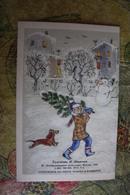 """Dachshund - Teckel - Dackel - Bassotto - OLD USSR Postcard - """"New Year"""" By Sbarskaya -  1986 - Dogs"""