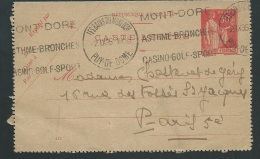 Carte Lettre Yvert N° 283 - CL1  Oblitéré Les Bains Du Mont Dore , Dreyfuss LE-MO213 LIRE DETAIL  Ax13204 - 1921-1960: Modern Period