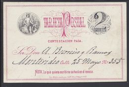 URUGUAY - 1883 - Tarjeta Postal Entier Dos Centesimos De Artigas Vers Montevidéo - TB - - Uruguay