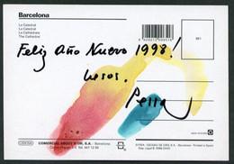 *Lluís Pessarrodona I Cardona. Barcelona 1930* Autógrafo Sobre Tarjeta Postal. Navidad 1997. - Autógrafos