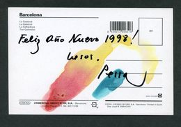 *Lluis Pessarrodona I Cardona* Pintor. Autógrafo Sobre Tarjeta Postal. Navidad 1997. - Autógrafos