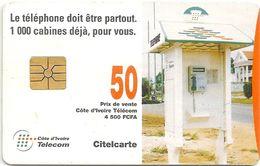 Ivory Coast - CI-Telecom - Telephone Box (Gem-Red) 50Units, Used - Ivory Coast