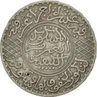 Monnaie, Maroc, 'Abd Al-Aziz, 1/2 Rial, 5 Dirhams, 1904, Paris, TTB+, Argent - Maroc