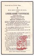 DP Louise M. Van Poucke ° Zerkegem Jabbeke 1878 † Bekegem Ichtegem 1937 X I. Van Poucke Xx M. VandeWalle - Devotion Images