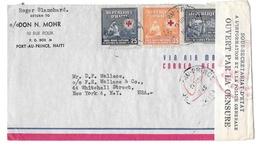 Haiti Censored Airmail Cover 1945 Sc C22 Port Au Prince To US Jul 6 Date Slug Inverted - Haiti