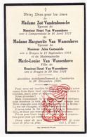 DP 3p. Fam. Van Wassenhove VandenBussche Costenoble † Kaaskerke Diksmuide 1926 / Lampernisse Brugge - Images Religieuses