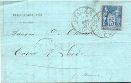 84Sm N°42 Lettre 1887 Decize (Niévre) à Cosne Cachet Reboulleau Loriot à Decize - Marcofilie (Brieven)