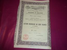 LA LILLOISE Brasserie Et Malterie (1910) Lille,nord - Actions & Titres