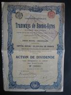 Action De 1907 BRUXELLES - TRAMWAYS DE BUENOS-AYRES - Chemin De Fer & Tramway