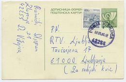 YUGOSLAVIA 1985 Posthorn 8 D. Stationery Card Used With Additional Franking.  Michel  P186 - Postal Stationery