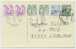 YUGOSLAVIA 1984 Posthorn 5 D. Stationery Card Used With Additional Franking.  Michel  P185 - Postal Stationery