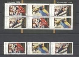 Grenada 2010, Olympic Games In Chamoix In 1924 And Vancouver, Bobsleging, Hockey, Sking, Personalised, 3val+Sheetlet - Winter 1924: Chamonix