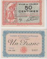 2 BILLETS DE NECESSITE 50c Et 1fr CHAMBRES DE COMMERCE COLMAR ET BESANCON - Chambre De Commerce