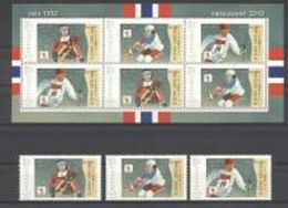 Grenada 2010, Olympic Games In Oslo In 1952 And Vancouver, Hockey, Sking, Personalised, 3val+Sheetlet - Winter 1952: Oslo