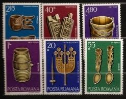 Roumanie Romania 1978 N° 3109 / 14 ** Sculpture, Bois, Fuseau, Quenouille, Moule, Fromage, Baratte, Lait Beurre Seau Eau - 1948-.... Républiques