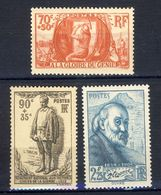 +++  PARFAITS !!!    3 TIMBRES  NEUFS** ANNEES 30  VOIR SCAN RECTO-VERSO    CONTRACTUEL - France