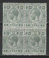 Malta SG 75, Mi 44 **/* MNH/MH Bloc Of 4 - Malta