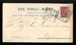 BARLETTA - 1894 - CARTOLINA COMMERCIALE - PERELLI MINETTI - UVA E VINI - Negozi