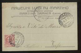 MARTINA FRANCA - TARANTO  - 1918 - CARTOLINA COMMERCIALE - LUIGI ANGELINI -  VINI - Negozi