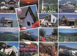 BALATON, Mehrbilderkarte, 17 F Frankierung, Transportspuren - Ungarn