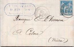 84Sm N°44 Lettre 1884 Montargis (Loiret) à Cosne (Niévre) Tampon Dateur Pouge & Cie à Montargis - Storia Postale