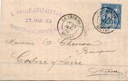 84Sm N°45 Lettre 1883 La Charité (Niévre) à Cosne Cachet Tampon Dateur Gallié Chizalet & Cie Banquiers - Marcofilie (Brieven)