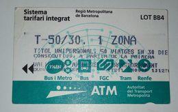 Tickets. Bus,metro,trem. Barcelona,Espanha - Chemins De Fer