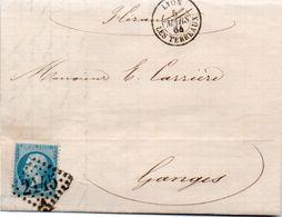 84Sm N°47 Lettre 1864 Lyon Les Terreaux, Gange (Hérault) Timbre Bas Surchargé 2145 Lettre C Au Dos - Poststempel (Briefe)
