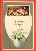GBU-34  Joyeuses Pâques, Avec Poules Et Poussins.. Circulé 1910 - Pâques