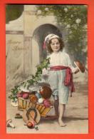 GBU-36  Bonne Année, Fillette Et Charette De Fruits Du Marché, Champignons, Fer à Cheval. Circulé 1910 - Anno Nuovo
