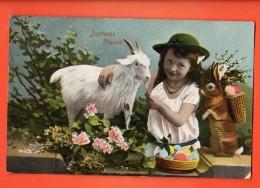 GBU-38  Joyeuses Pàques, Fillette, Avec Chèvre Naine Et Lapin, Oeufs. Cachet 1905 - Pâques