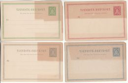 1890s DENMARK TJENKSTE Service POSTAL STATIONERY CARDS Card Cover Heraldic Lion Stamps - Postal Stationery