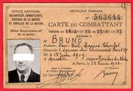 -- CARTE DU COMBATTANT - Office National Des Mutilés- Combattants - Victimes De La Guerre Et Pupilles De La Nation -- - Documents