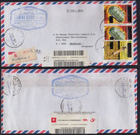 Cd0011 ZAIRE 2002, 3 @ Surcharge Stamps On Registered Cover From Kinshasa 1 To Belgium With I.10(S) Cancellation - República Democrática Del Congo (1997 - ...)