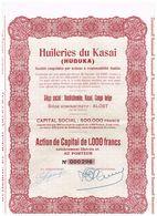 """Action Ancienne - Huileries Du Kasai """"Huduka"""" - Titre De 1939 - N° 000296 - Afrique"""