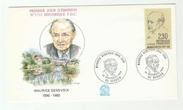 1980 Verdun FRANCE FDC Maurice GENEVOIX Author SPECIAL Pmk Cover Stamps Literature - FDC