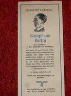 WW2. ALLEMAGNE. PETIT DEPLIANT PUBLICITAIRE - SIGNET J. GOEBELS. KAMPF UM BERLIN - Weltkrieg 1939-45