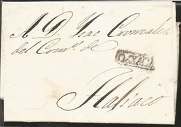 J) 1832 MEXICO, COLONIAL MAIL, COMPLETE LETTER, BLACK CANCELLATION, AIRMAIL, CIRCULATED COVER, FROM OAXACA TO TLAJIACO - Mexico