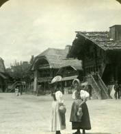 Suisse Scene De Village Ancienne Photo Stereo Stereoscope ASC 1900 - Stereoscopic