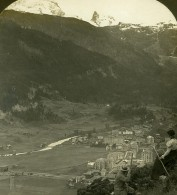 Suisse Zermatt Panorama Ancienne Photo Stereo Stereoscope ASC 1900 - Stereoscopic