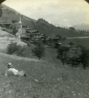 Suisse Niederwald Panorama Ancienne Photo Stereo Stereoscope ASC 1900 - Stereoscopic