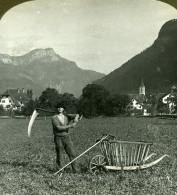 Suisse Paysan De Altdorf Ancienne Photo Stereo Stereoscope ASC 1900 - Photos Stéréoscopiques